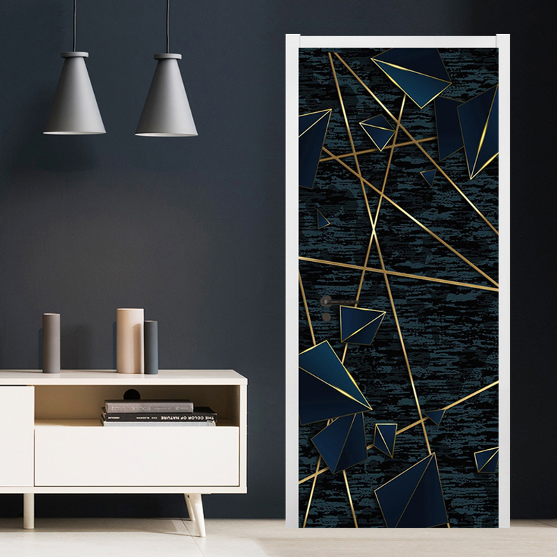 PVC Self-Adhesive Waterproof Door Sticker Modern Abstract Line Mural Wallpaper Living Room Study Home Decor 3D Art Door Poster