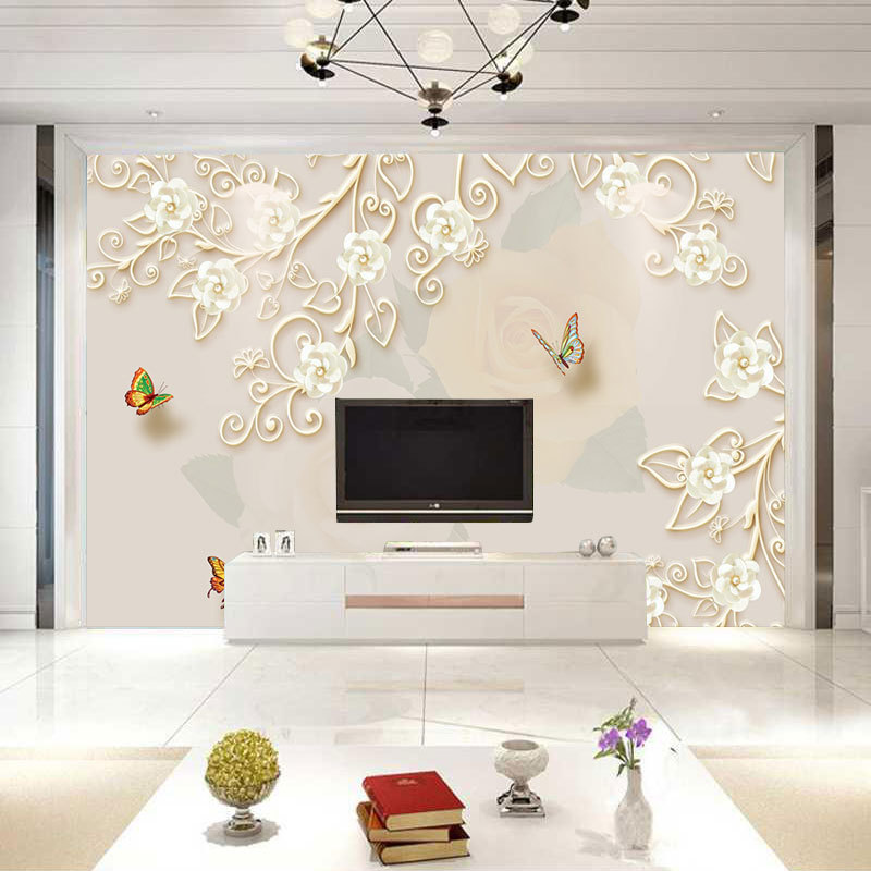3D Relief Butterfly Mural European Style Decorative Pattern Living Room Television Background Wall Wallpaper Creative Sofa TV Wa