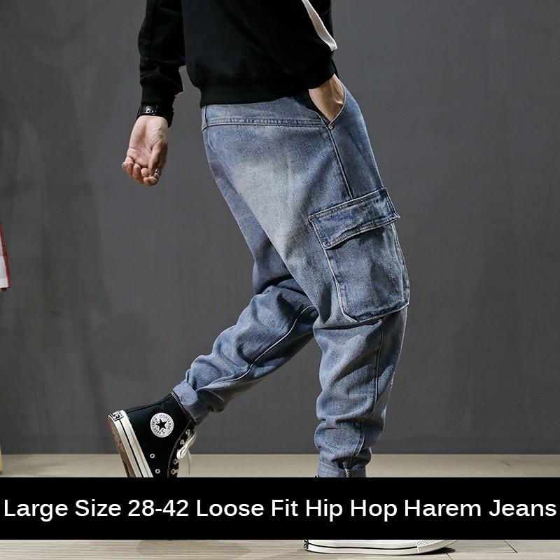 Fashion Streetwear Men Jeans Loose Fit Big Pocket Cargo Pants Hombre Harem Jeans Blue Color Designer Elastic Hip Hop Jeans Men