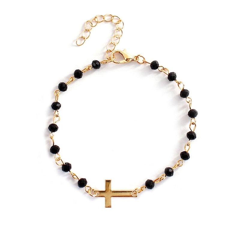 Новый модный стиль Розария Боком Крест Браслет черный камень бисером золото или цепь браслеты для женщин девушек