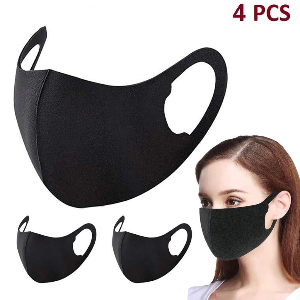 4 шт., маска для взрослых, черная хлопковая одноцветная эластичная маска для лица, моющаяся Тканевая маска для взрослых, модные маски для женщин, крышка для рта Маски для вечеринки      АлиЭкспресс
