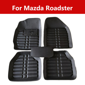 Car Leather Floor Mats Fit Front/Rear Full Set For Mazda Roadster Front Rear, Driver Passenger Seat Black image