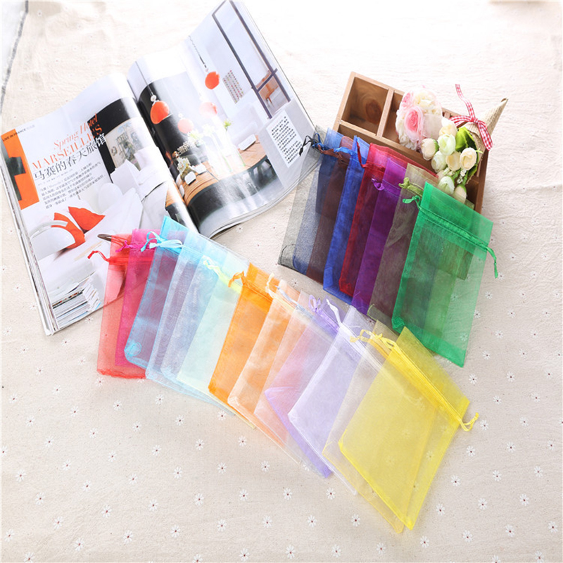 25/50pcs Organza Bag 7x9 9x12 13x18cm Storage Drawsting Bags Candy Packaging Bags Wedding Party Decoration Gift Pouches 50%