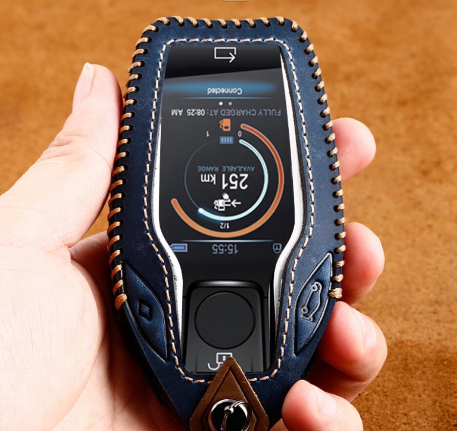 Автомобиль из натуральной кожи светодиодный Дисплей ключ чехол держатель для BMW 5 7 серии G11 G12 G30 G31 G32 i8 i12 i15 G01 G02 G05 G07 X3 X4 X5 X7