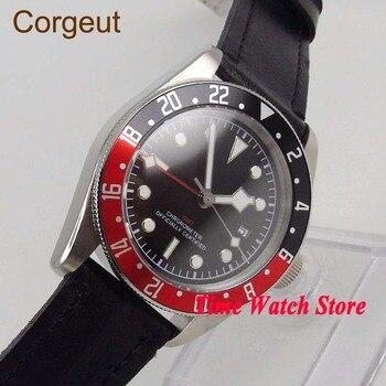 Corgeut 41mm GMT 5ATM automatic men's watch waterproof leather strap black strile dial red bezel luminous sapphire glass