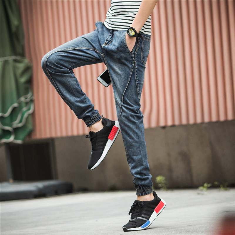 Spring New Style Jeans Men's Skinny Pants Men's Slim Fit Ankle Banded Pants Elastic Waist Harem Pants Trousers