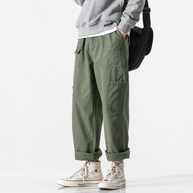 Nanxia Qiaozhuang 2019 Spring New Style Bib Overall Men's May Kaji Loose-Fit Straight-leg Pants American-Style Multi-pockets Tro