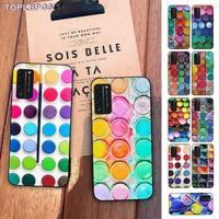 TOPLBPCS colorido juego de acuarelas pintura paleta cubierta del teléfono para Huawei Honor 8x9 10 20 V 30 pro 10 20 lite ver 7A 9lite jugar