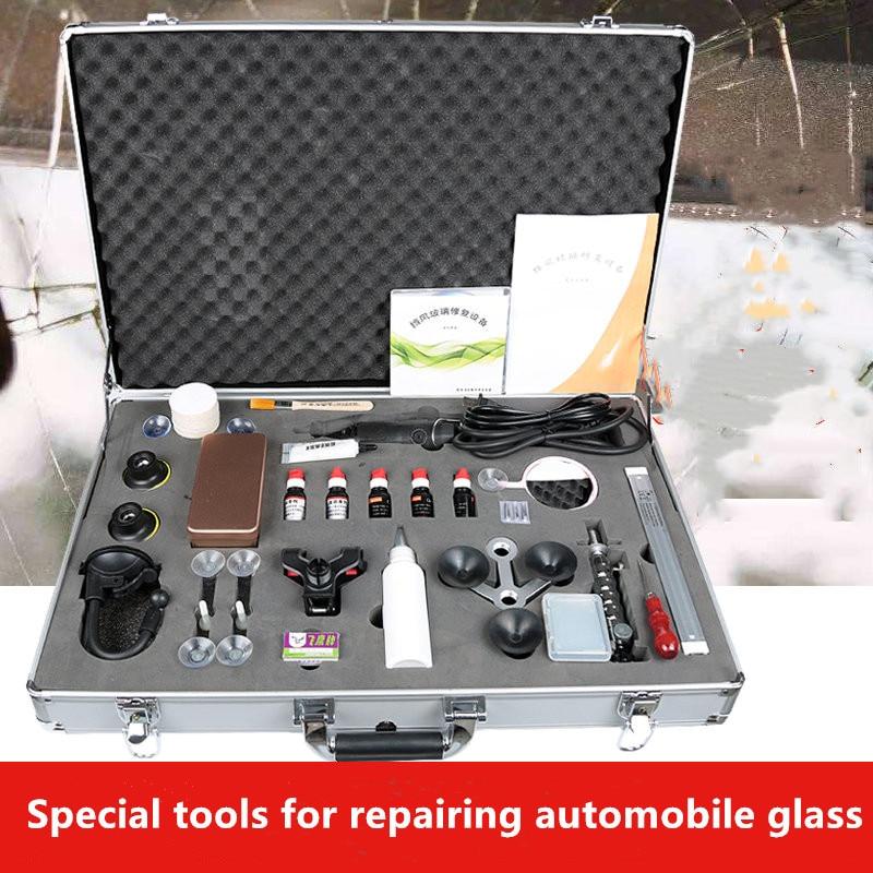 Vehicle Glass Repair Tool Kit Front Windshield Crack Breakage Cattle Eye Resin Drill Bit Glue Injector
