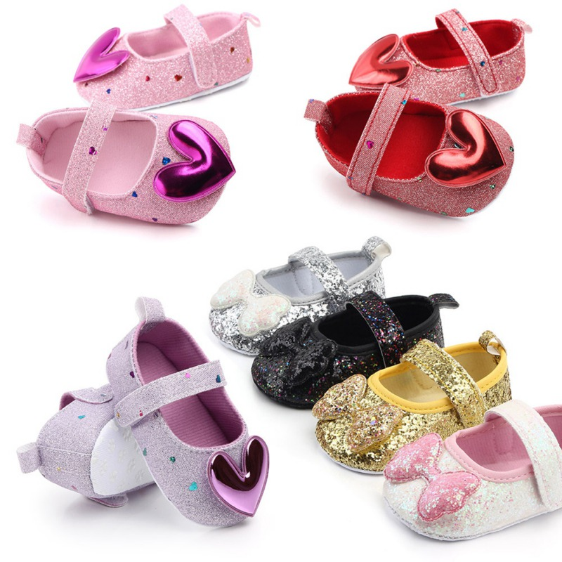 Newborn Baby Girls Shoes Sequin PU Leather Buckle Princess Footwear Shoes Bow Insert First Walkers