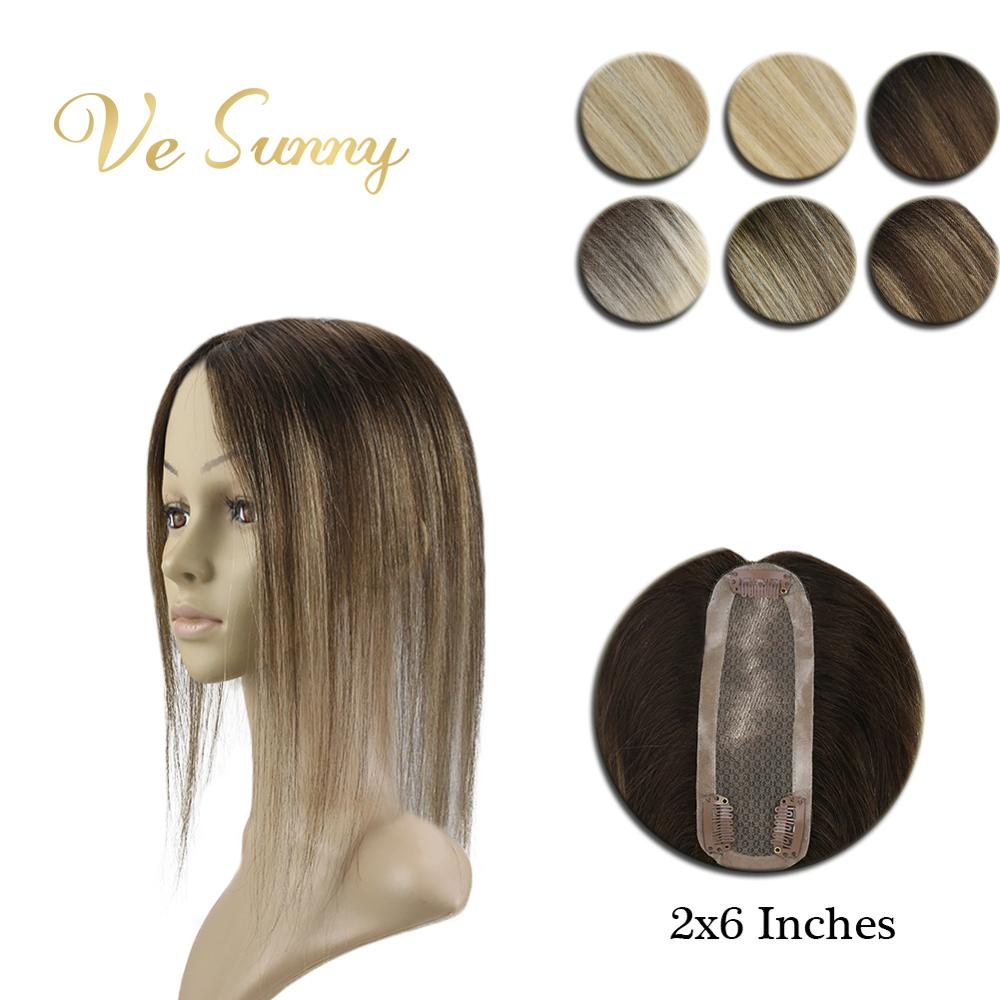 VeSunny Crown Hairpiece Mono Base Topper Real Human Hair Hand Made Toupee With 3 Clips 2x6 Inches Balayage Highlighted Color