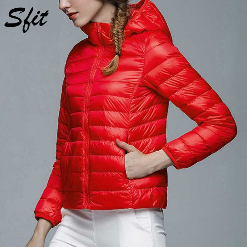 Sfit Women Hooded Winter Jacket  Parkas 2018 New Fashion Casual Autumn Women's Candy-colored Coat Long Sleeve Outerwear 2019