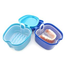 2 Colors Braces False Tooth Storage Box Special Care Box With Filter Mesh Denture Care Portable Empty Storage Case Container