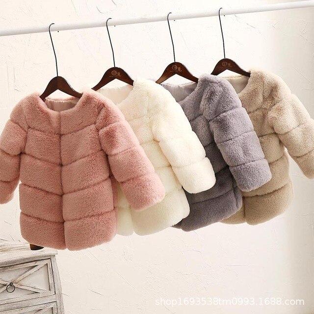 Baby Girls Faux Fur Coat Winter Children Girls Long Sleeve Christmas Jacket Warm Kids Girls Snow Coat Girls Outerwear Clothing