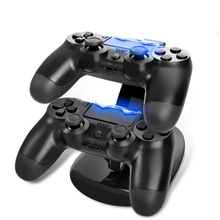 цена на LED Dual Controller Charger Dock Dual USB Charging Stand Station Cradle for Sony Playstation 4 PS4 /PS4 Pro /PS4 Slim Controller