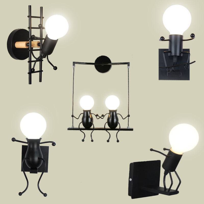 Sconce-Lamp Wall-Lamp-Lights Bedside Baby-Room Living-Roomdining Creative Kids Mounted-Iron