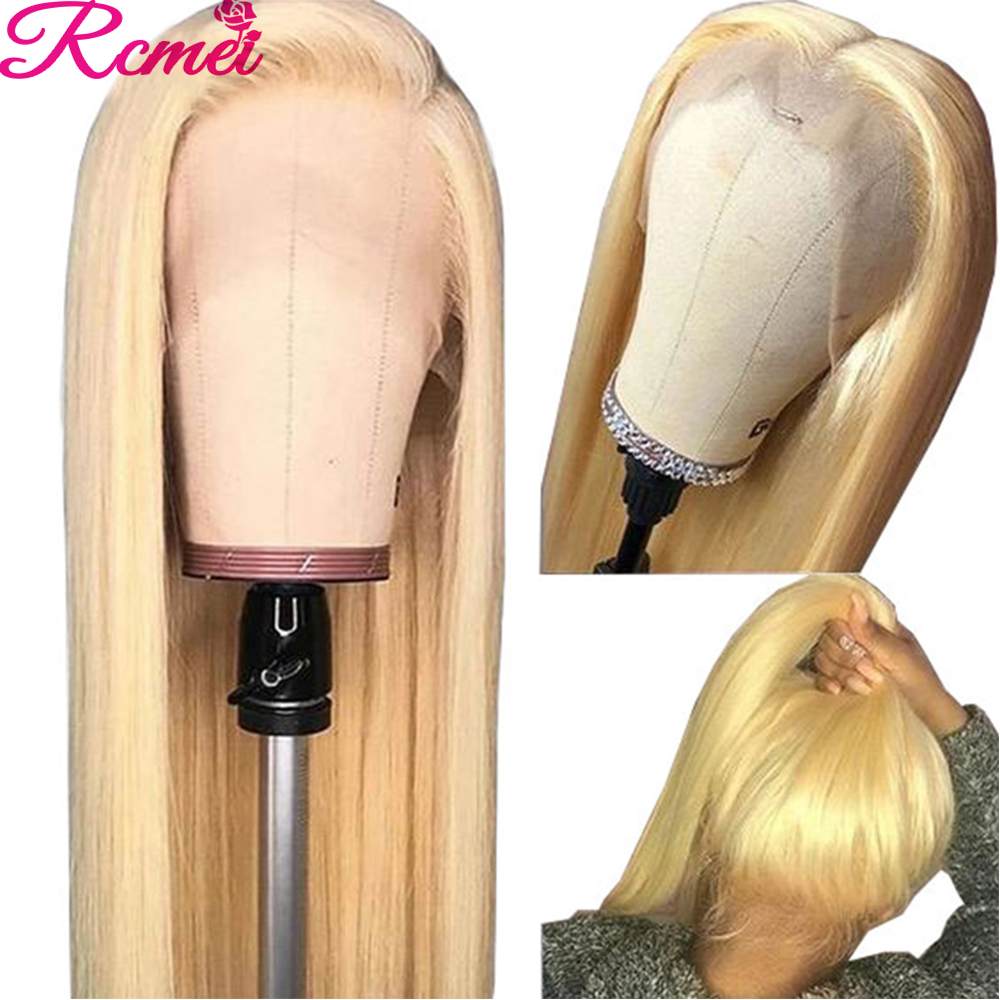 Rcmei 13x4 Glueless 613 Honey Blonde Lace Front Wig Brazilian Straight Lace Front Human Hair Wigs Pre Plucked Lace Remy Wig 150% image