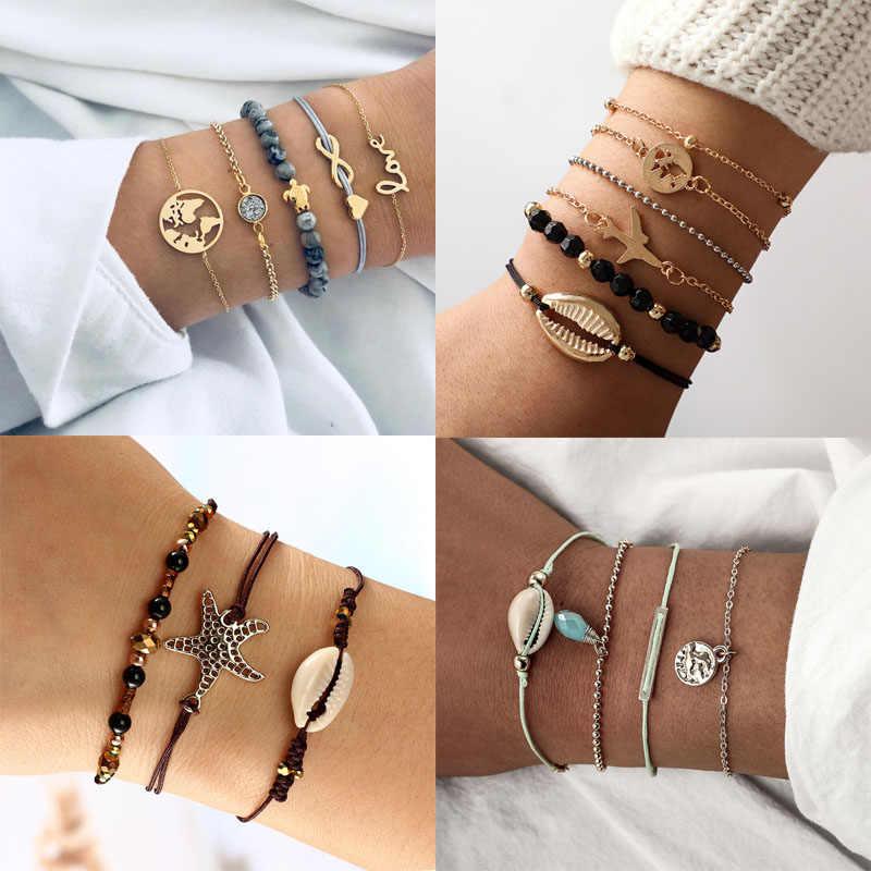 Styl boho bransoletka z muszli zestaw bransoletka rozgwiazda plaża kolorowy w regulowanej mody Rope Chain bransoletka dla kobiet Pulseras