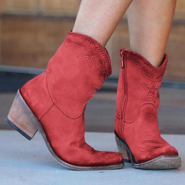 Sıcak kadın yarım çizmeler batı Retro deri topuklu sivri burun düz desen dikiş Botas Mujer kadın yan fermuar çizmeler