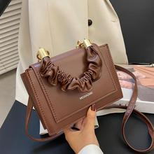 Fashion Handle Pleated PU Leather Flap Crossbody Bag Women Portable Solid Color Shoulder Messenger Handbags Casual Shopping Bag