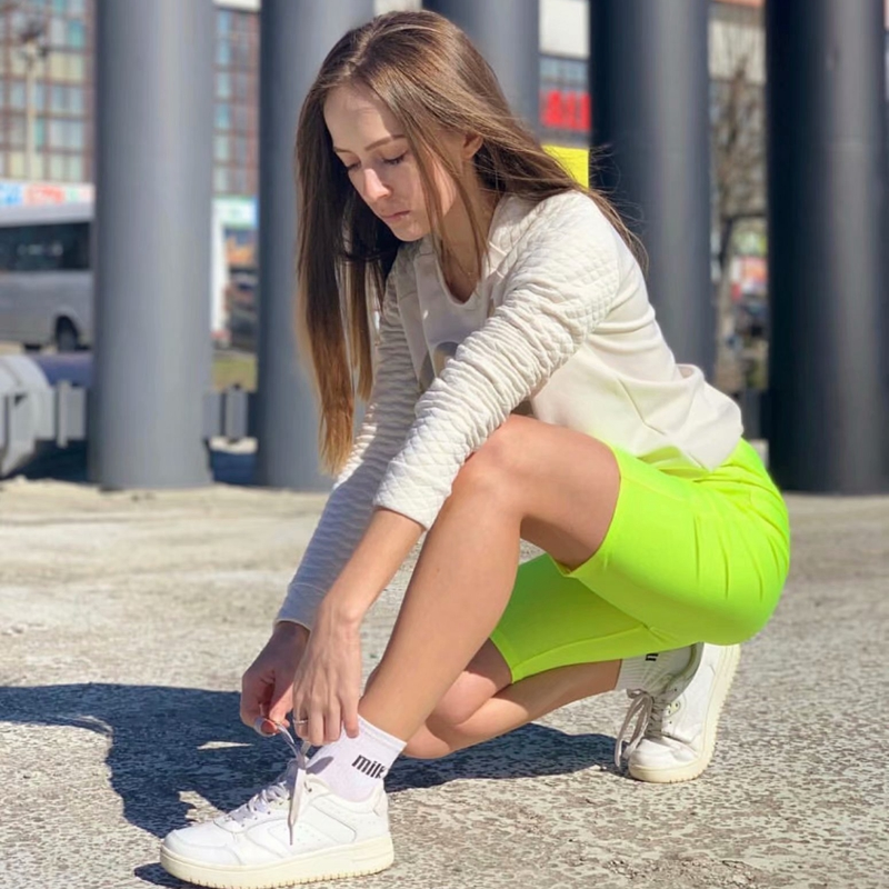 Neon green yellow biker shorts orange black high waisted shorts casual elastic shorts vintage khaki pink reflective short mujer 13