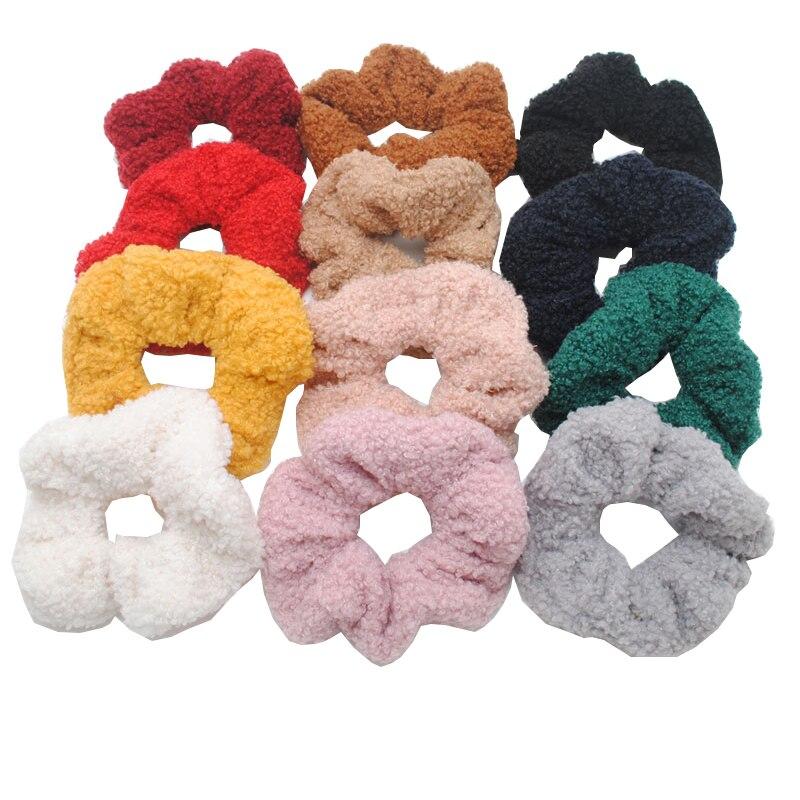 6 Pieces New Cashmere Winter Hair Scrunchies Girls  Soft Elastic Hair Bands  Gift Hair Gum Tie Accessories