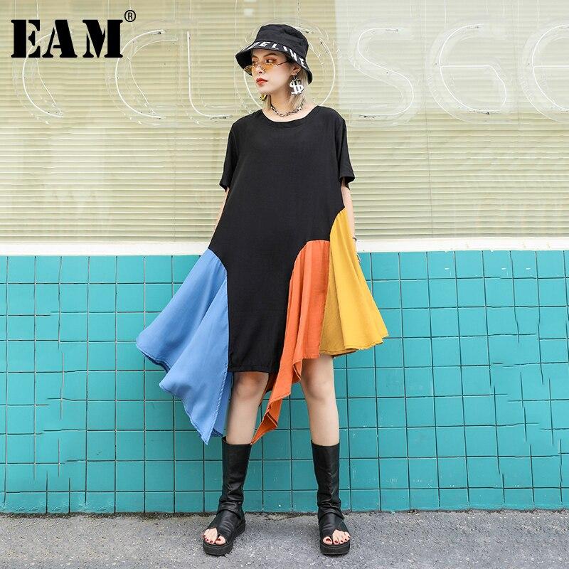 [EAM] Women Black Colorful Split Irregular Big Size Dress New Round Neck Short Sleeve Loose Fit Fashion Spring Summer 2020 1W067
