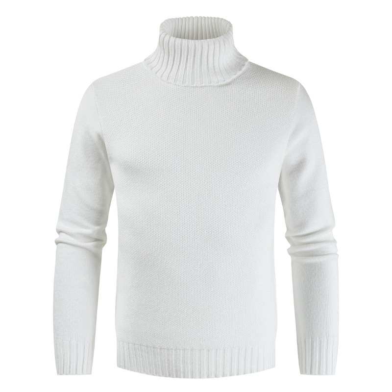 2019 New Autumn Winter High Collar Solid Color Men's New Casual Sweater Fashion Warm Slim Fit Long Sleeve Sweater Tops