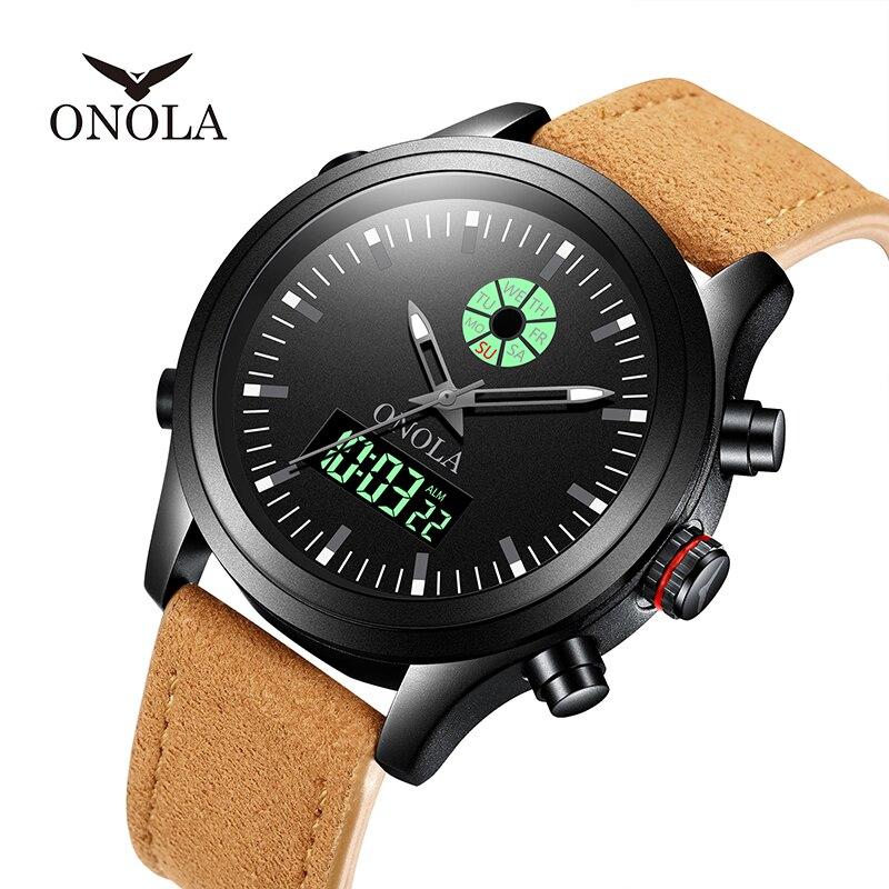 ONOLA brand High Quality durable Men's Sports Military Watch men orgin,Double Display Led luminous Wristwatch digital mens watch