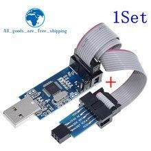 1Set USBASP USBISP AVR 프로그래머 USB ATMEGA8 ATMEGA128 ATtiny/CAN/PWM 10 핀 와이어 모듈 DIY + 10 핀 6 핀 어댑터 보드