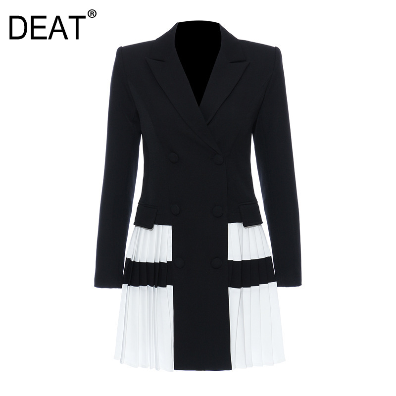 DEAT 2020 New Summer Fashion Mesh Clothing Notched Hit Colors Pleated Patchwork Double Breasted Waist Blazer WL38701L