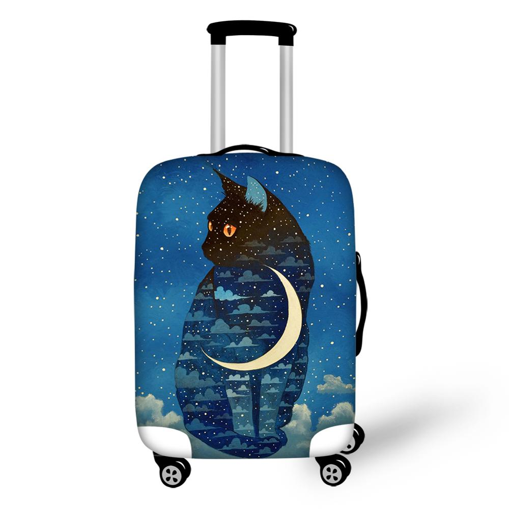 Customize Your Pets Luggage Cover Blue Moon Cat Dustproof Protective Cover Travel Suitcase Dust Covers 18-32 inch Trolley Case