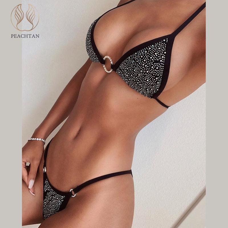 Peachtan Sexy Rhinestone bikini set Triangle high cut swimwear women Halter push up swimsuit female Diamond bathers bathing suit