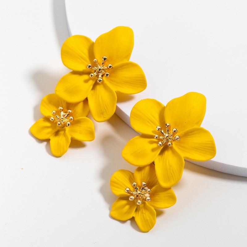 2020 Korean Big Double Flower Drop Earrings Summer Beach Party Metal Statement Earring For Woman Boho Fashion Jewelry Girl Gift