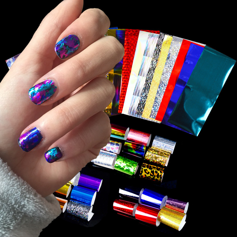 Star Printed Paper For Manicure Set 24 Paragraph Colorful Laser Sticker Manicure Star Transfer Decal Foreign Trade Retail Packag