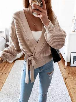 Women Casual Lace-up Cardigan Coat Zaraing 2020 V-Neck Knit Sweater Solid Color Jumpers Autumn Winter Warm Female Top image