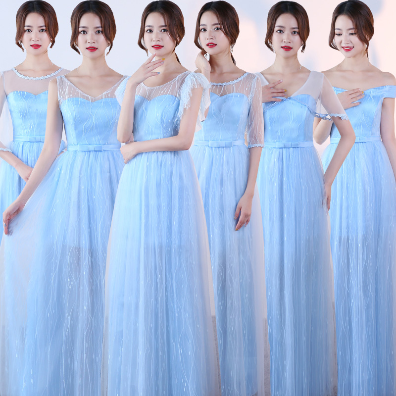 Blue Plus Size Tulle Junior Bridesmaid Dress Elegant Wedding Party Woman Floor Length Long Sexy Prom Dress Simple New Years Eve