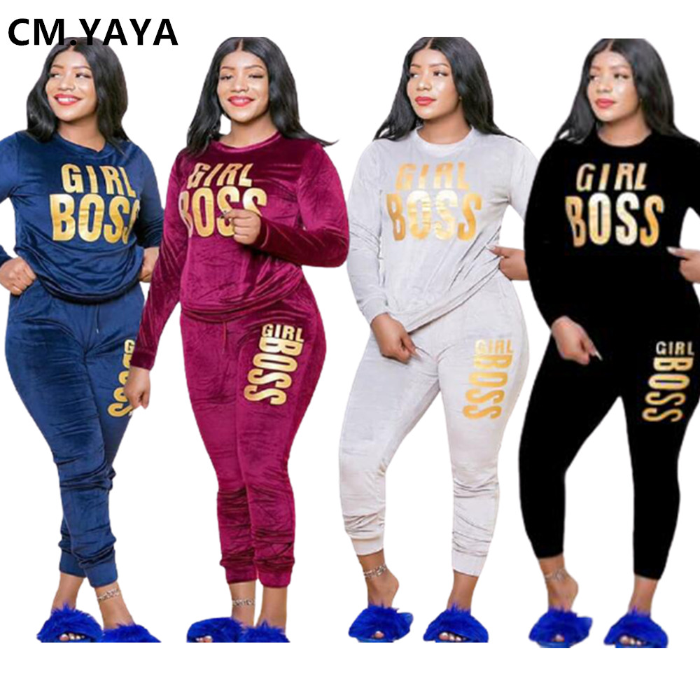 CM.YAYA Plus Size XL-5XL Letter Print Velvet Women's Set Sweatshirt Top Jogger Pants Suit Tracksuit Two Piece Set Fitness Outfit 1