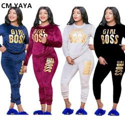CM.YAYA Plus Size XL-5XL Letter Print Velvet Women's Set Sweatshirt Top Jogger Pants Suit Tracksuit Two Piece Set Fitness Outfit