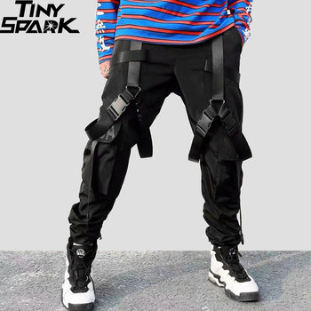 2019 Hip Hop Cargo spodnie kieszenie mężczyźni Streetwear Harajuku Harem spodnie klamra wstążka spodnie joggery czarne spodnie dresowe HipHop jesień tanie i dobre opinie Tiny Spark Cargo pants Kostki długości spodnie Mieszkanie REGULAR Poliester Midweight Suknem Elastyczny pas A112040 Black
