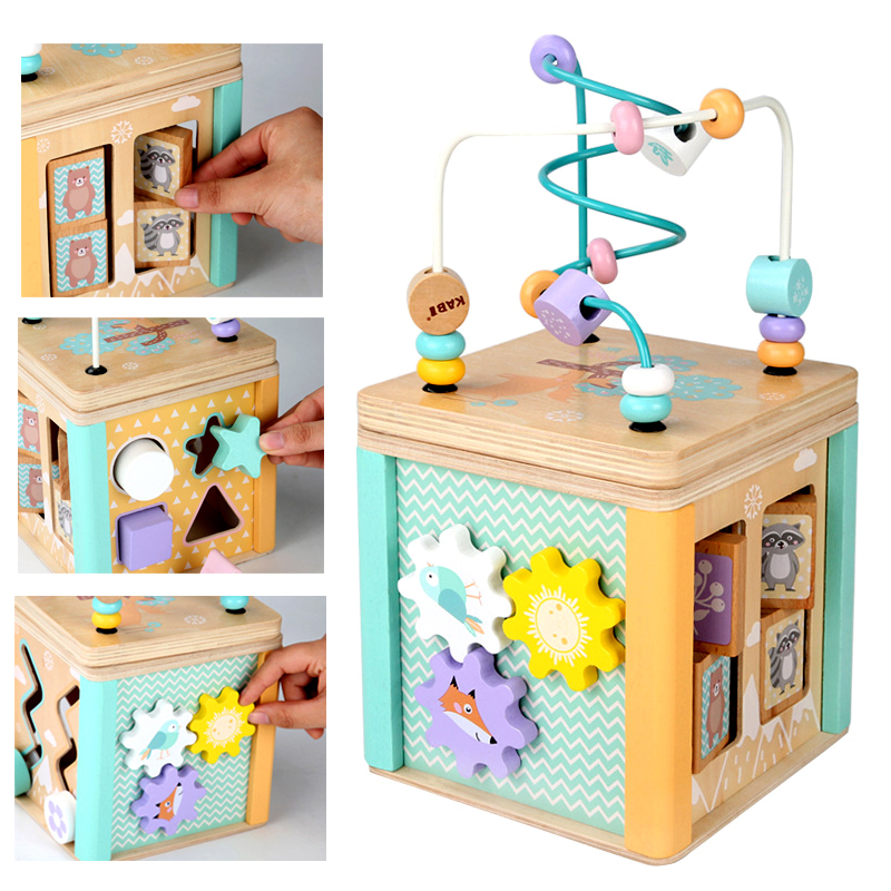 Baby Toys Wooden Montessori Beaded Maze Shape Recognition Toy Cartoon Clock Learning Children Preschool Education Toy Math Toys