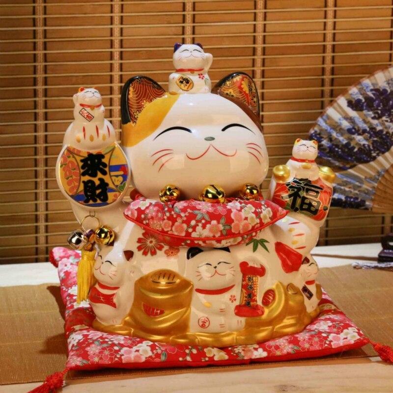 25*22*28cm en céramique chat chanceux décor à la maison en porcelaine ornements cadeaux d'affaires Fortune chat tirelire Fengshui artisanat