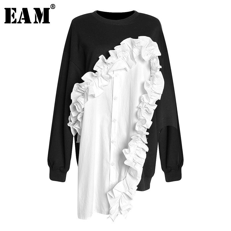 [EAM]2020 New Spring Autumn Round Neck Long Sleeve Black Hit Color Ruffles Split Joint Loose Sweatshirt Women Fashion Tide JL052
