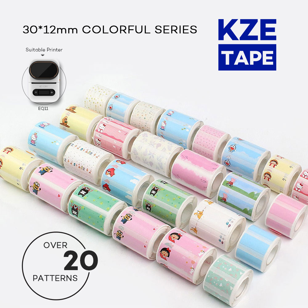 Kze 30*12mm Various models Cute Thermal Label Roll Typeable Washi Tape lovely mark sticker for EQ11 mini thermal label printer