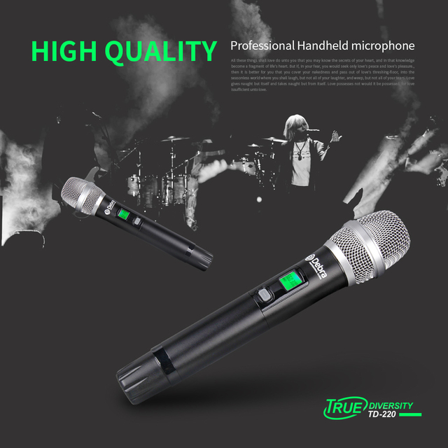 True diversity!!! TD-220 Professional 2channel UHF Wireless Microphones System Cordless Wireless for Vocal singer Stage Karaoke