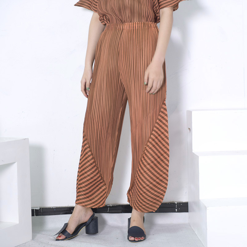 LANMREM High Elastic Waist Pleated Stitch Long Wide Leg Trousers New Loose Fit Pants Women Fashion Tide Spring Autumn 2020 JG577