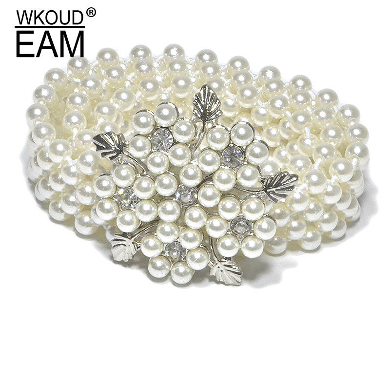 WKOUD EAM 2020 New Lady Rhinestone Pearl Elastic Belly Chain Fashion Mosaic Pearl High Quality Dress Belt Tide PE185