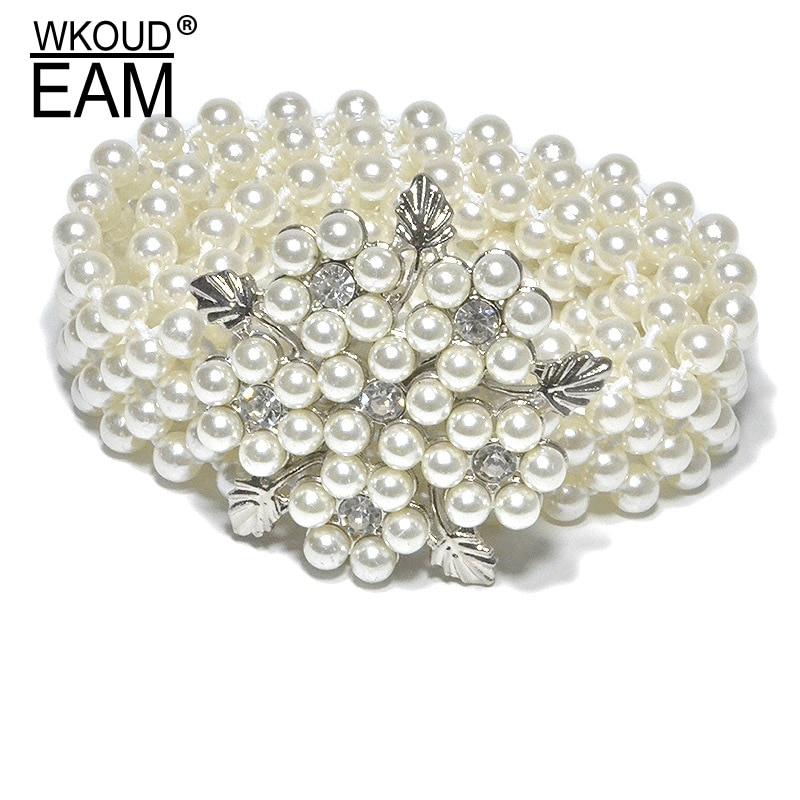 WKOUD EAM 2020 New Lady Rhinestone Pearl Elastic Belly Chain Fashion Mosaic Pearl High Quality Dress Belt Tide PE185