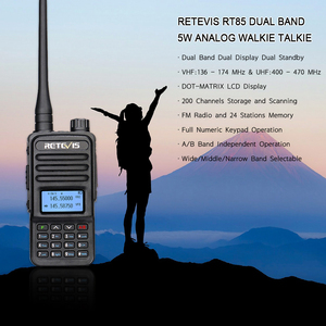 Retevis RT85 Analog Walkie Talkie 5W UV Dual Band Handheld Two Way Radio with Screen Keyboard VOX FM Radio Portable Transceiver