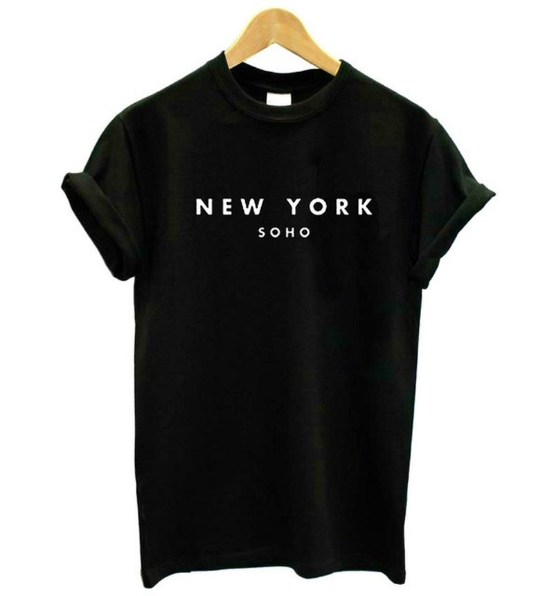 NEW YORK SOHO Letter Print T Shirt Women Short Sleeve O Neck Loose Tshirt 2020 Summer Women Tee Shirt Tops Camisetas Mujer